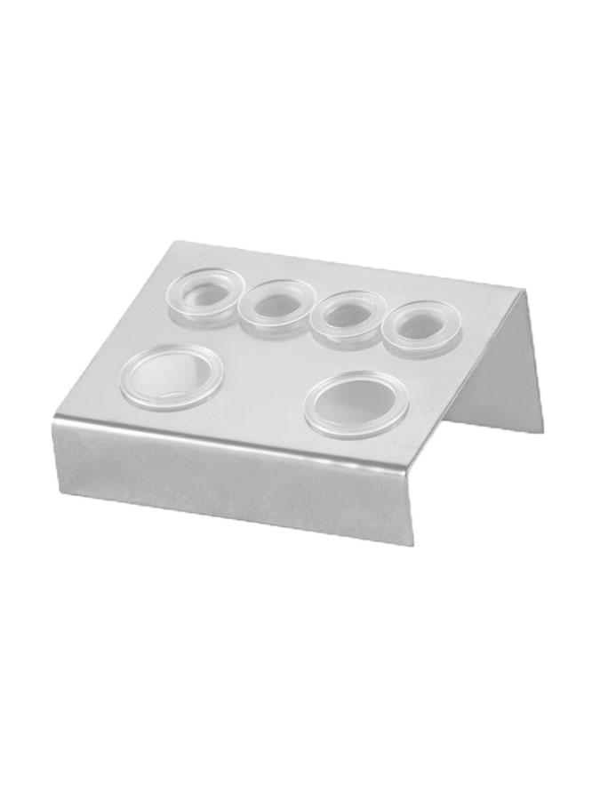 Metalowy stojak na kubeczki srebrny