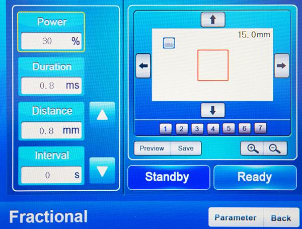 ekran zabiegowy lasera frakcyjnego co2 wybór kształtu frakcjonowania